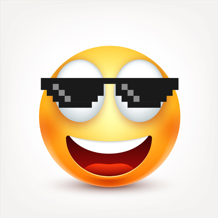 smileys: Smiley with glasses,smiling emoticon. Yellow face with emotions. Facial expression. 3d realistic emoji. Funny cartoon character.Mood. Web icon. Vector illustration. Illustration