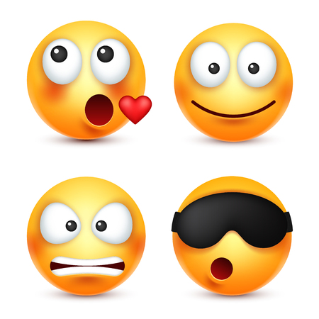 Smiley with heart,sleep emoticon. Yellow face with emotions. Facial expression. 3d realistic emoji. Funny cartoon character.Mood. Web icon. Vector illustration.
