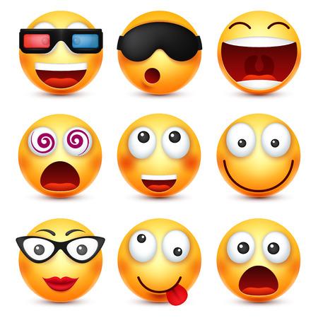 メガネ、怒っている、悲しい、幸せな絵文字を笑顔と笑顔。感情と黄色の顔。顔の表情。3 d のリアルな絵文字。面白い漫画のキャラクター。気分。W