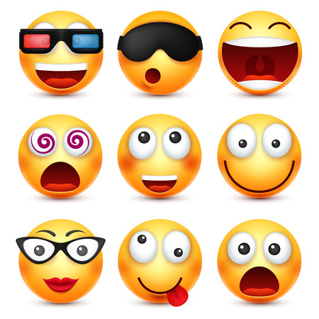 Smiley met een bril, glimlachend boos, verdrietig, blije emoticon. Geel gezicht met emoties. Gezichtsuitdrukking. 3D-realistische emoji. Grappig stripfiguur. Web pictogram. Vector illustratie.