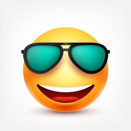 Smiley with glasses,smiling emoticon. Yellow face with emotions. Facial expression. 3d realistic emoji. Funny cartoon character.Mood. Web icon. Vector illustration. Ilustracja