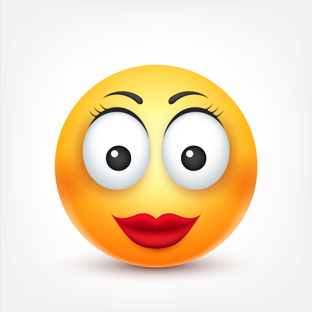 Smiley,smiling angry,sad,happy female emoticon. Yellow face with emotions. Facial expression. 3d realistic emoji. Funny cartoon character.Mood. Web icon. Vector illustration.