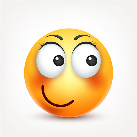 Smiley,smiling ,happy emoticon. Yellow face with emotions. Facial expression. 3d realistic emoji. Funny cartoon character.Mood. Web icon. Vector illustration. Zdjęcie Seryjne - 80319938