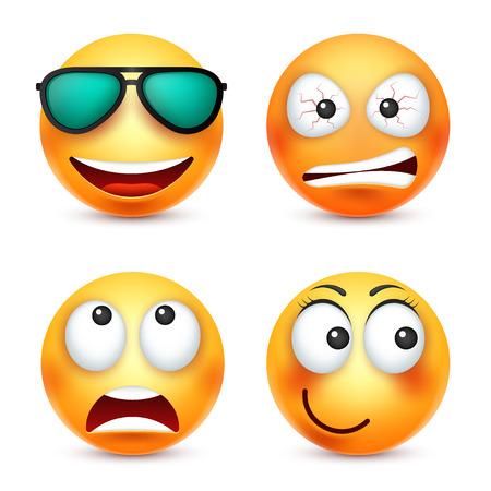メガネ、絵文字を笑顔と笑顔。感情と黄色の顔。顔の表情。3 d のリアルな絵文字。面白い漫画のキャラクター。気分。Web アイコン。ベクトルの図。