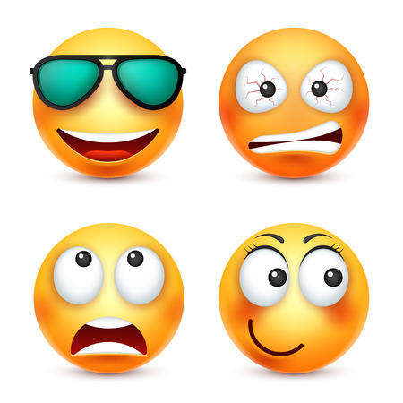 Smiley with glasses,smiling emoticon. Yellow face with emotions. Facial expression. 3d realistic emoji. Funny cartoon character.Mood. Web icon. Vector illustration. Çizim