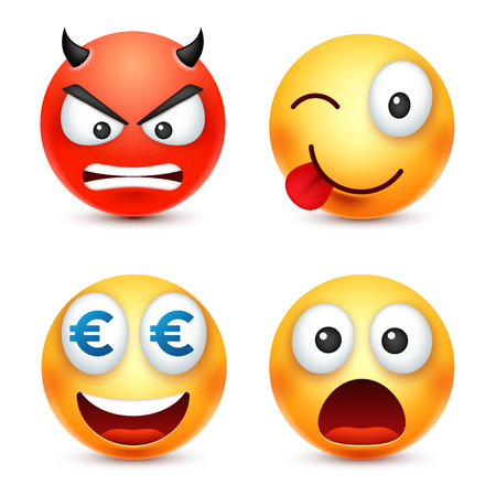 Smiley,smiling angry,sad,happy emoticon. Yellow face with emotions. Facial expression. 3d realistic emoji. Funny cartoon character.Mood. Web icon. Vector illustration. Ilustracja