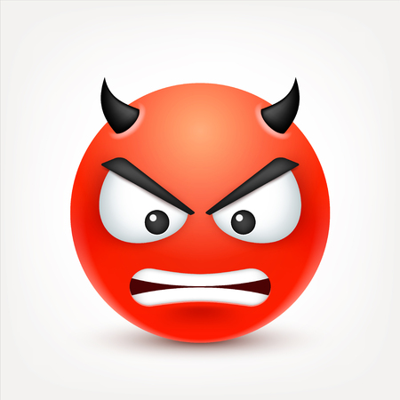 Smiley,angry,sad,devil emoticon. Redface with emotions. Facial expression. 3d realistic emoji. Funny cartoon character.Mood. Web icon. Vector illustration. Ilustracja