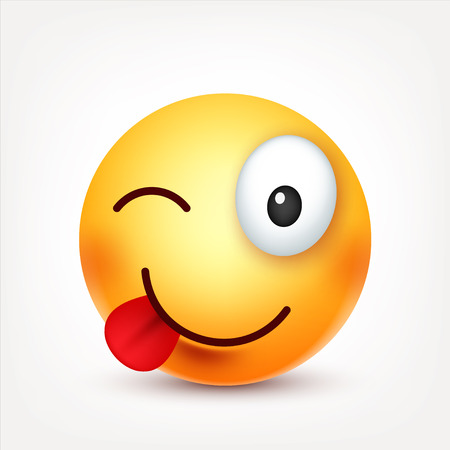 Smiley,smiling ,happy emoticon. Yellow face with emotions. Facial expression. 3d realistic emoji. Funny cartoon character.Mood. Web icon. Vector illustration. Illusztráció