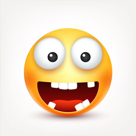 Smiley,smiling ,happy emoticon with teeth. Yellow face with emotions. Facial expression. 3d realistic emoji. Funny cartoon character.Mood. Web icon. Vector illustration.