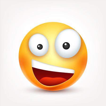 Smiley, sorridente, felice emoticon. Volto giallo con emozioni. Espressione facciale. Emoji 3d realistici. Personaggio divertente del fumetto. Icona Web. Illustrazione vettoriale. Archivio Fotografico - 80319950