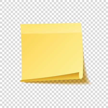 Haftnotiz mit Schatten isoliert auf transparenten Hintergrund. Gelbes Papier Nachricht auf notepaper.Reminder. Vektor-Illustration. Standard-Bild - 79085548