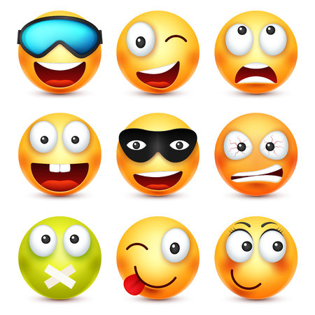 Smiley with glasses,smiling,angry,sad,happy emoticon. Yellow face with emotions. Facial expression. 3d realistic emoji. Funny cartoon character.Mood. Web icon. Vector illustration. Иллюстрация