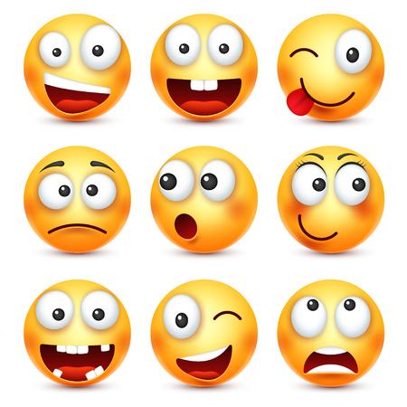 Smiley, uśmiechnięty zły, smutny, szczęśliwy emotikon. Żółta twarz z emocjami. Wyraz twarzy. 3d emoji realistyczne. Zabawna postać z kreskówki. Ikona sieci. Ilustracji wektorowych.