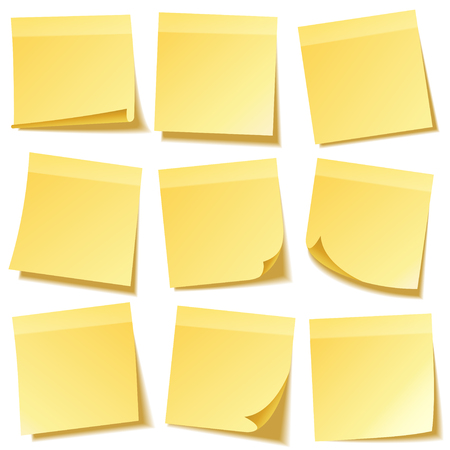Sticky note with shadow isolated on transparent background set. Yellow paper. Message on notepaper.Reminder. Vector illustration.