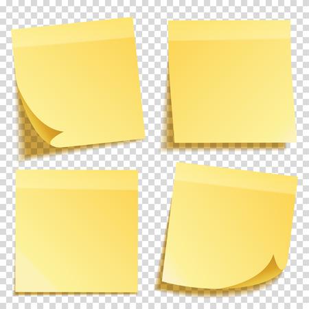 透明な背景に分離した影と付箋を設定します。黄色の紙。便箋にメッセージ。思い出させる。ベクトルの図。