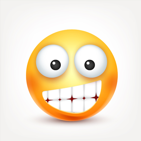 Smiley, happy emoticon. Yellow face with emotions. Facial expression. 3d realistic emoji. Funny cartoon character.Mood. Web icon. Vector illustration.