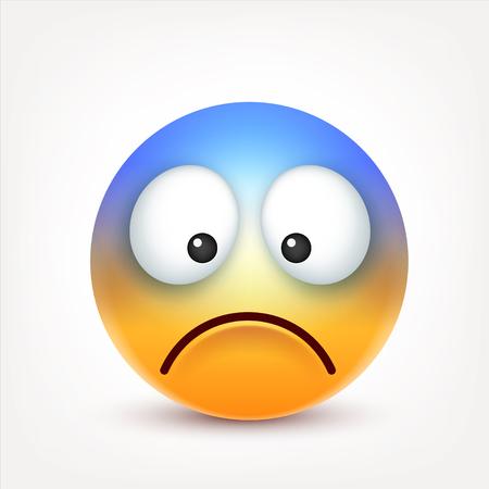 Smiley, verdrietige emoticon. Geel gezicht met emoties. Gezichtsuitdrukking. 3D-realistische emoji. Grappig stripfiguur. Web pictogram. Vector illustratie. Stock Illustratie