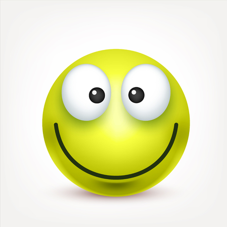 Smiley,green happy emoticon. Yellow face with emotions. Facial expression. 3d realistic emoji. Funny cartoon character.Mood. Web icon. Vector illustration.