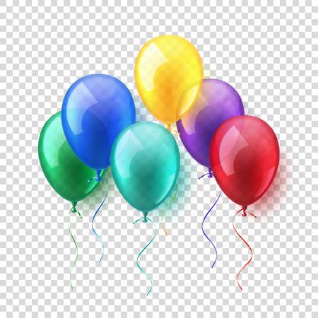 透明な孤立した現実的なカラフルな光沢のある飛行空気風船を設定します。誕生日パーティー。Ribbon.Celebration。 結婚式や Anniversary.Vector の図。