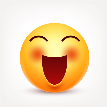 Smiley,emoticon. Yellow face with emotions. Facial expression. 3d realistic emoji. Funny cartoon character.Mood. Web icon. Vector illustration. Zdjęcie Seryjne - 80101637
