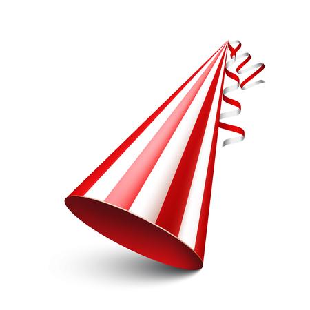 streamers: Party shiny hat with ribbon. Holiday decoration.Celebration.Birthday.Vector illustration on white background.