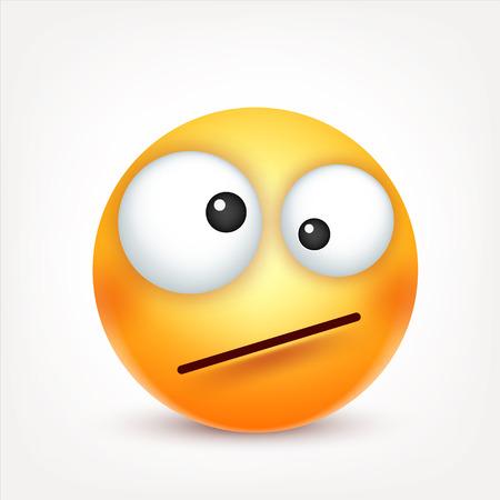스마일, 이모티콘. 감정 가진 노란 얼굴입니다. 표정. 3d 현실적인 그림이입니다. 재미있는 만화 캐릭터. 좋은. 웹 아이콘입니다. 벡터 일러스트 레이 션