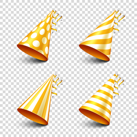 Party shiny hat with ribbon. Holiday decoration.Celebration.Birthday.Vector illustration on transparent background. Set. Illustration