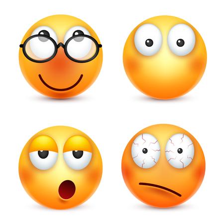 스마일, 이모티콘 설정합니다. 감정 가진 노란 얼굴입니다. 표정. 3d 현실적인 그림이입니다. 재미있는 만화 캐릭터. 좋은. 웹 아이콘입니다. 벡터 일러