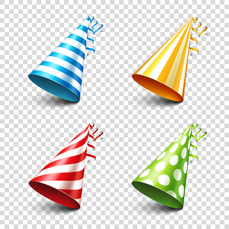 Party shiny hat with ribbon. Holiday decoration.Celebration.Birthday.Vector illustration on transparent background. Set. Vettoriali