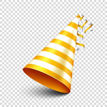 リボン付きパーティーの光沢のある帽子。休日の装飾。透明な背景に Celebration.Birthday.Vector の図。