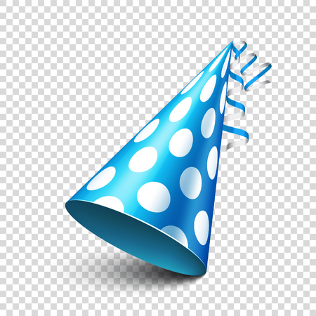 Party shiny hat with ribbon. Holiday decoration.Celebration.Birthday.Vector illustration on transparent background. Çizim