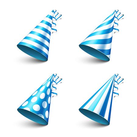 newyear: Party shiny hat with ribbon. Holiday decoration.Celebration.Birthday.Vector illustration on white background. Set. Illustration