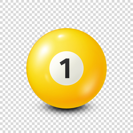 Biljart, geel biljartbal met nummer 1.Sooker. Transparante achtergrond. Vectorillustratie.