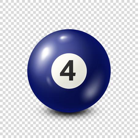 Billiard,blue pool ball with number 4.Snooker. Transparent background.Vector illustration.