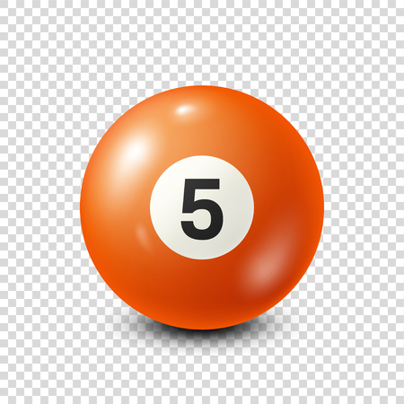 Biljart, oranje poolbal met nummer 5.Snooker. Transparante achtergrond. Vector illustratie.