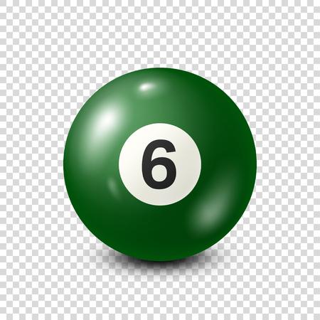 Biljart, groene poolbal met nummer 6. Snooker. Transparante achtergrond. Vectorillustratie. Stock Illustratie