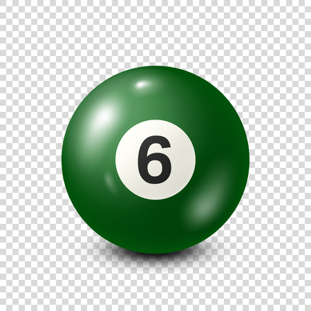 Billard, boule de billard vert avec numéro 6.Snooker. Arrière-plan transparent. Illustration vectorielle.