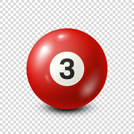 Billiard,red pool ball with number 3.Snooker. Transparent background.Vector illustration.