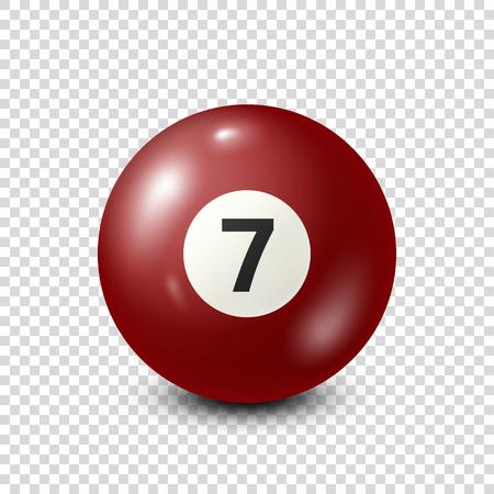 Biliardo, palla da biliardo rossa con numero 7.Snooker. Sfondo trasparente. Illustrazione di vettore.