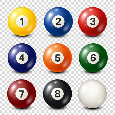 Bilhar, coleção de bolas de bilhar. Snooker. Plano de fundo transparente. Ilustração vetorial Ilustración de vector