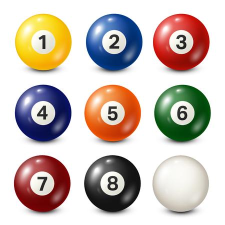 Billiard,pool balls collection. Snooker. White background. Vector illustration.