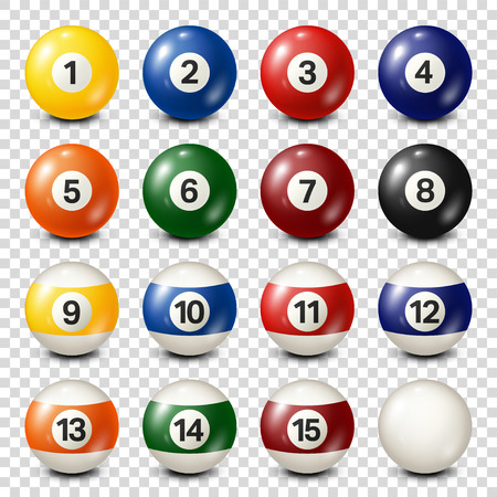 Billiard,pool balls collection. Snooker. Transparent background. Vector illustration.