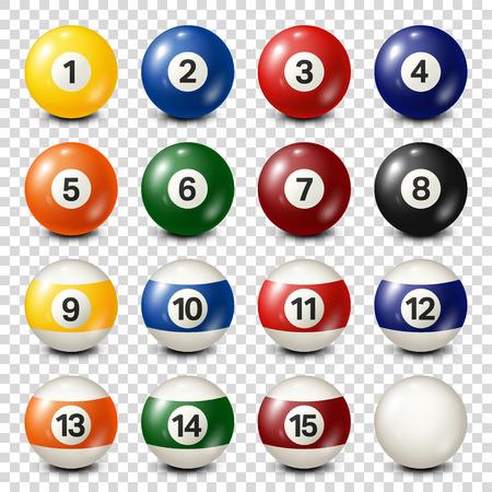 Billar, colección de bolas de billar. Snooker. Fondo transparente. Ilustración del vector. Foto de archivo - 80446031