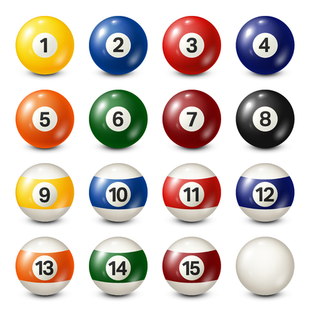 thirteen: Billiard,pool balls collection. Snooker. White background. Vector illustration.