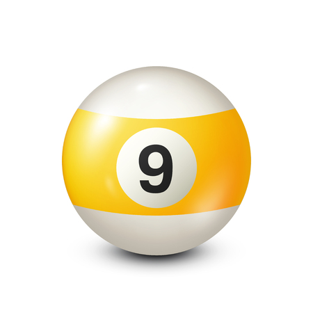 cue ball: Billiard,yellow pool ball with number 9.Snooker. Transparent background.Vector illustration.