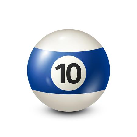Biljart, blauwe poolbal met nummer 10.Snooker. Transparante achtergrond. Vectorillustratie.