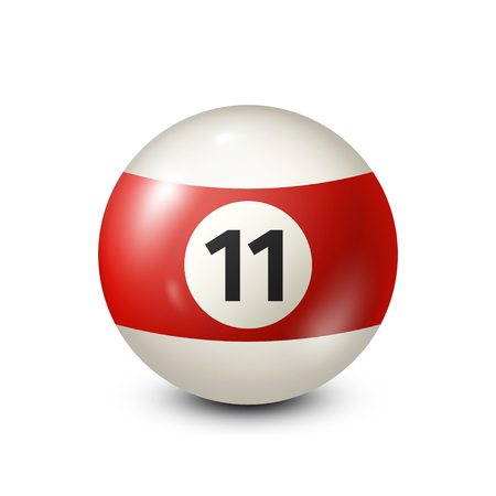 cue ball: Billiard,red pool ball with number 11.Snooker. Transparent background.Vector illustration.