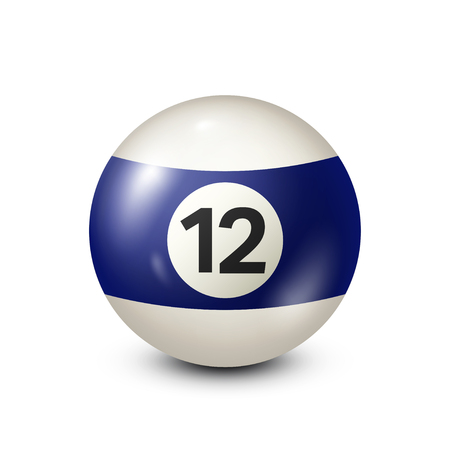 Billiard,blue pool ball with number 12.Snooker. Transparent background.Vector illustration. Stock Illustratie