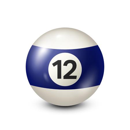 numero nueve: Billar, bola de billar azul con el número 12.Snooker. Transparente background.Vector ilustración. Vectores