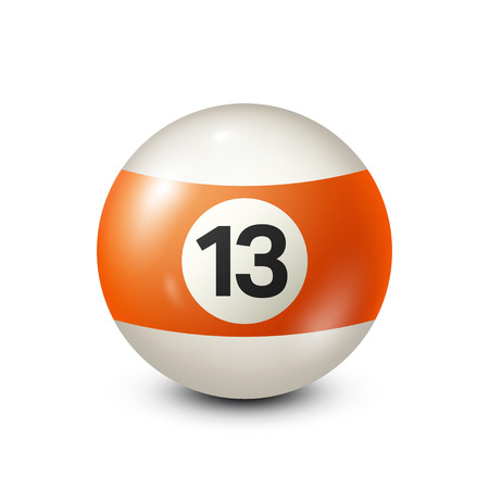 fifteen: Billiard,orange pool ball with number 13.Snooker. Transparent background.Vector illustration.